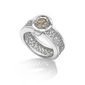 Tom Rucker Jewellery ring. Platinum ring with IGI certified fancy grey brilliant-cut diamond 1.57 carats and white brilliant-cut diamonds