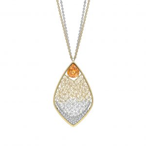 Tom Rucker Jewellery pendant. Tom Rucker Jewellery pendant necklace - gold and platinum with fancy yellow sapphire and rare white brilliant-cut diamonds