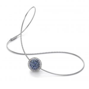 Tom Rucker Jewellery. Platinum necklace with Blue Hyderian®