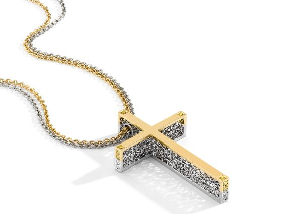 Tom Rucker Jewellery necklace cross. Platinum and gold necklace with natural fancy vivid yellow brilliant-cut diamonds.