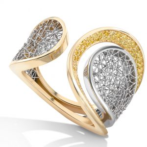 Tom Rucker Jewellery. Platinum 950 & Gold 750 ring ø 22 mm. 100 natural vivid yellow diamonds 0.60 carats