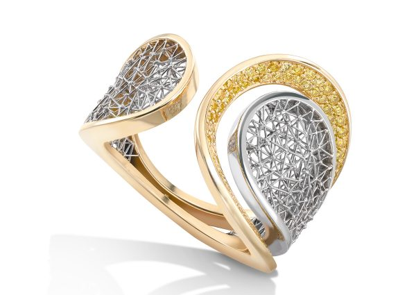 Tom Rucker Jewellery. Platinum 950 & Gold 750 ring ø 22 mm. 100 natural vivid yellow diamonds 0.60 carats