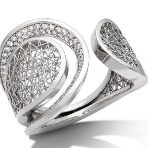 Tom Rucker Jewellery. Platinum 950 Ring. 22 mm wide, 100 rare white diamonds 0.60 carats