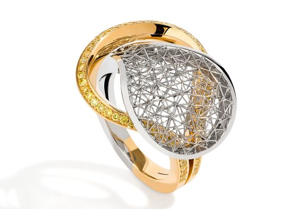 Tom Rucker Jewellery. Platinum and gold - natural fancy vivid yellow brilliant-cut diamonds