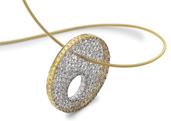 Tom Rucker Jewellery necklace. Platinum and gold necklace with rare white and natural vivid yellow brilliant-cut diamonds.