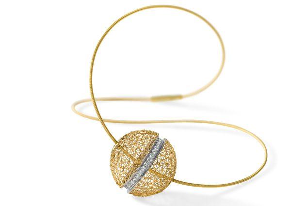 Tom Rucker Jewellery Gold necklace with rare white brilliant-cut diamonds