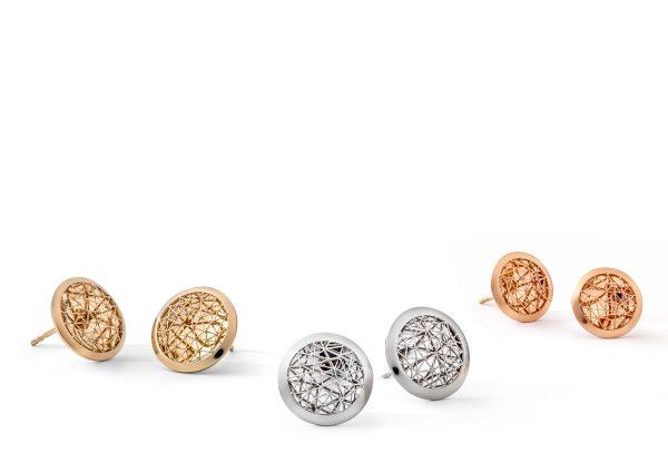 Tom Rucker Jewellery. Ear studs Platinum 950 & Gold 750 (yellow, pink) ø 13-15 mm