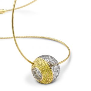 Tom Rucker Jewellery necklace. Necklace/Pendant Platinum 950 & Gold 750 174 natural fancy yellow diamonds 1.36 carats