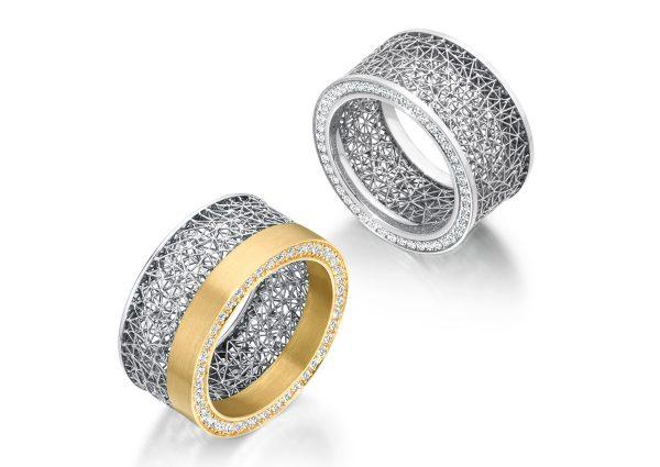 Tom Rucker Jewellery ring. Ring - Platinum 950 & Gold 750 natural fancy yellow diamonds Ring Platinum 950 rare white diamonds