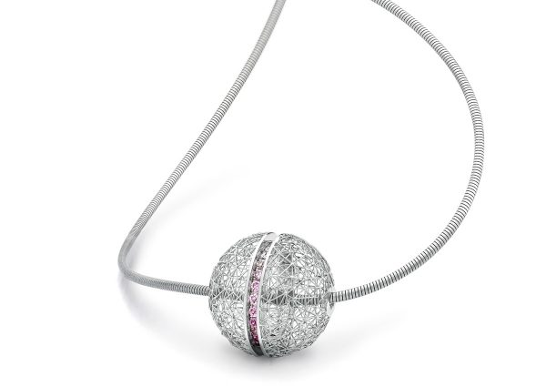 Tom Rucker Jewellery Necklace/ Pendant Platinum 950, with rare white and natural fancy pink diamonds