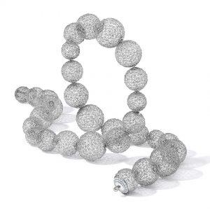 Tom Rucker Jewellery. Platinum necklace with rare white brilliant-cut diamonds
