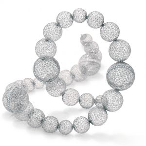 Tom Rucker Jewellery. Platinum necklace with rare white brilliant-cut diamonds