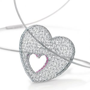 Tom Rucker Jewellery necklace heart. Platinum 950 necklace / pendant with natural fancy pink diamonds