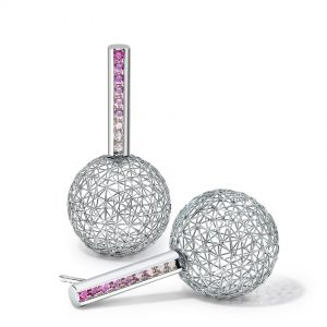Tom Rucker Jewellery earrings pink sphere. Platinum earrings with rare white and natural fancy intense pink brilliant-cut diamonds