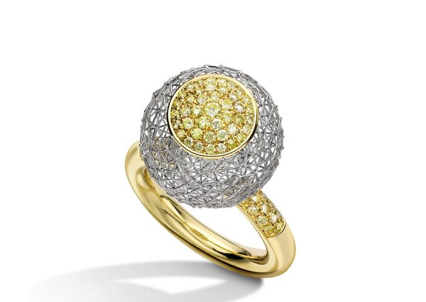 Tom Rucker Jewellery ring. Kinetic ring - Platinum 950 & Gold 750 with 86 natural fancy vivid yellow diamonds 0.92 carats