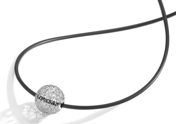 Tom Rucker Jewellery Platinum 950 pendant necklace with black silicone string necklace