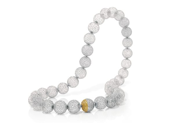 Tom Rucker Jewellery. Platinum 950 necklace with over half a million single laser spots