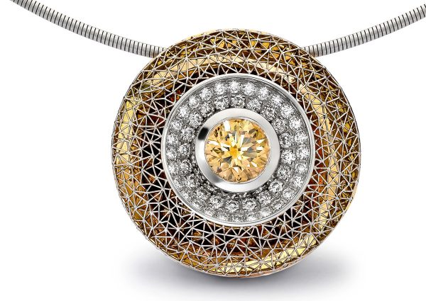 Tom Rucker Jewellery necklace. Platinum and gold necklace with rare white diamonds a natural HRD certified fancy intense orangey-yellow brilliant-cut diamond 1.66 carats.