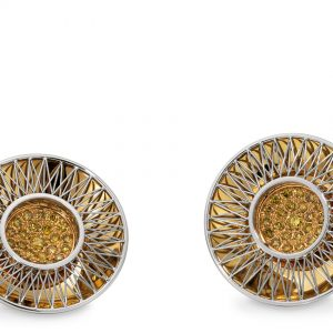 Tom Rucker Jewellery. Earrings. Platinum 950 & Gold 750. ø 17 mm 46 natural fancy yellow diamonds 0.35 carats