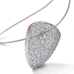 Tom Rucker Jewellery. Platinum necklace with 57 rare white and natural fancy intense pink brilliant-cut diamonds totalling 1.21 carats