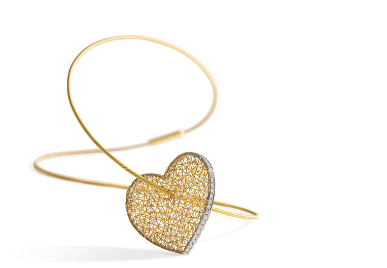 Gold heart laser jewellery