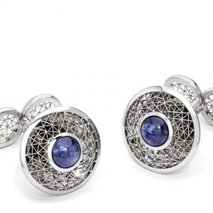 Tom Rucker Jewellery. Platinum cufflinks with sapphire cabochons 6.45 carats