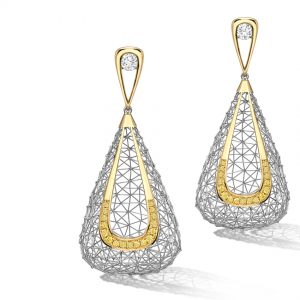 Tom Rucker Jewellery. Platinum 950 & gold 750 earrings, natural vivid yellow diamonds