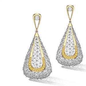 Tom Rucker Jewellery. Platinum 950 & gold 750 earrings, natural vivid yellow diamonds