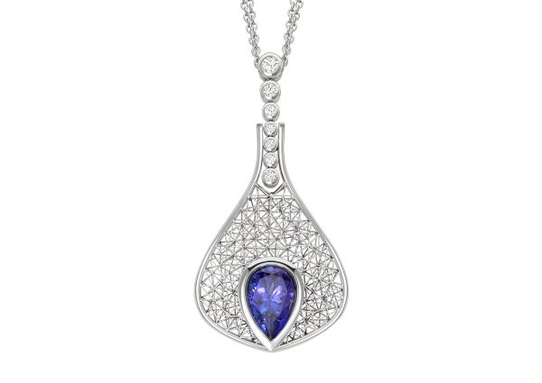 Tom Rucker Jewellery pendant. Necklace platinum - tanzanite rare white brilliant-cut diamonds