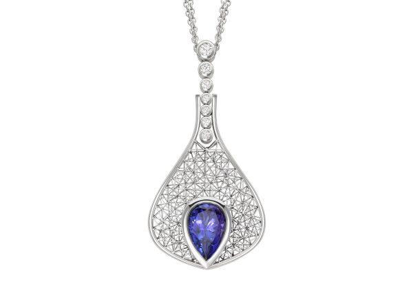 Tom Rucker Jewellery pendant. Necklace platinum - tanzanite rare white brilliant-cut diamonds