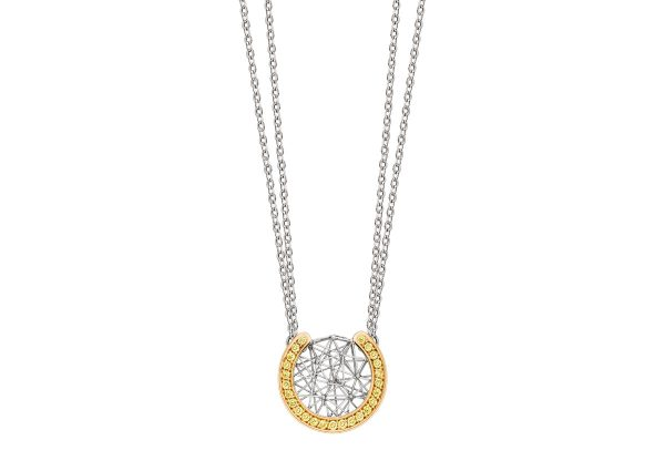 Tom Rucker Jewellery necklace. Platinum and gold necklace with natural fancy vivid yellow brilliant-cut diamonds.