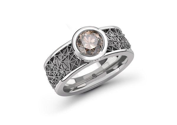 Tom Rucker Jewellery ring. Platinum and black ruthenium ring with rare white diamonds. IGI certified natural fancy greyish brown brilliant-cut 1.33 carat diamond