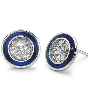 Tom Rucker Jewellery. Platinum earrings with Blue Hyderian®