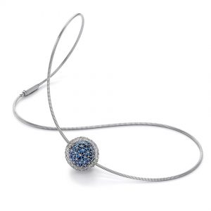 Tom Rucker Jewellery necklace. Platinum necklace with Blue Hyderian®