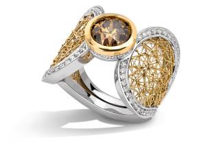 Tom Rucker Jewellery ring platinum and gold rare white diamonds IGI certified natural fancy deep brown brilliant-cut diamond 2.5 carats
