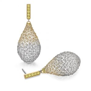 Tom Rucker Jewellery earrings. Platinum and gold earrings with natural vivid yellow brilliant-cut diamonds.