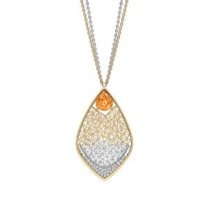 Tom Rucker Jewellery pendant necklace - gold and platinum with fancy yellow sapphire and rare white brilliant-cut diamonds