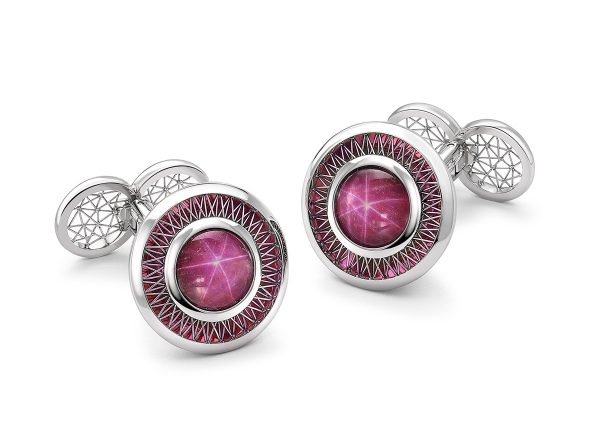 Tom Rucker Jewellery. Pink Hyderian® platinum cufflinks with star ruby cabochons 9.66 carats