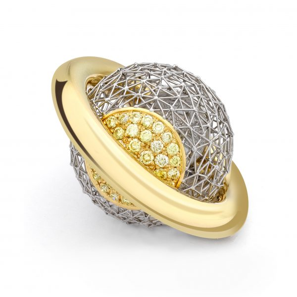 Geo Shush Kinetic Ring by Tom Rucker Jewellery ring. Kinetic ring - Platinum 950 & Gold 750 with 86 natural fancy vivid yellow diamonds 0.92 carats