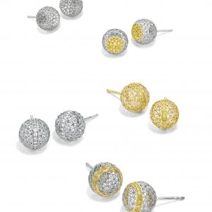 Geo Sphere Studs Geo Sphere Ear Studs - Earrings by Tom Rucker Jewellery earrings ear studs. Platinum and gold ear stud, earrings with rare white and natural vivid yellow brilliant cut diamonds.