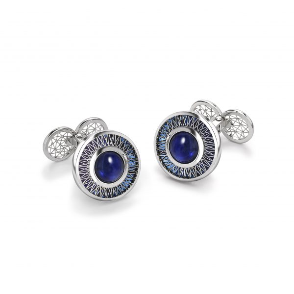 GEO Alcyone cufflinks by Tom Rucker Jewellery. Platinum cufflinks with sapphire cabochons 6.45 carat