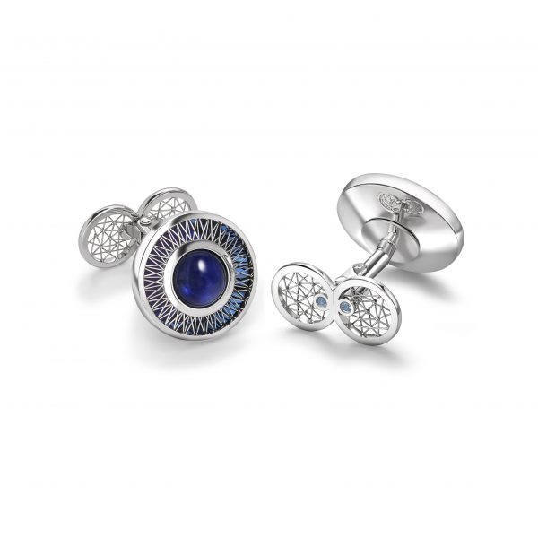 GEO Alcyone cufflinks by Tom Rucker Jewellery. Platinum cufflinks with sapphire cabochons 6.45 carat