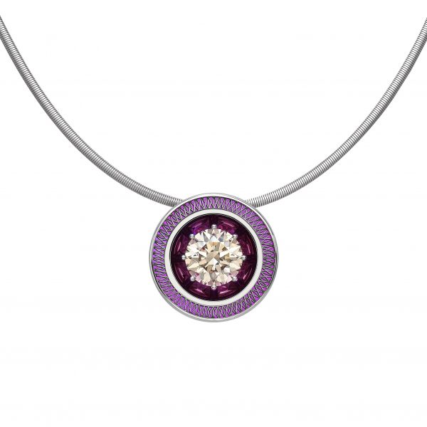 GEO Ulysses pendant necklace by Tom Rucker Fine Jewellery London. A significant 7.05 ct Fancy Yellowish Brown Type IIa GIA certified diamond brilliant cut - si1 Pink HYDERIAN® platinum 955 Laser welded structure.